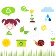 Agriculture, garden and nature icons isolated on white background - Stock Vector