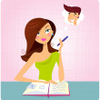 Young student girl is daydreaming while studying — Stock Vector