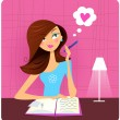 Royalty-Free Stock 矢量图片: Teenage girl writing diary and dreaming about love
