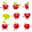 Постер, плакат: Funny red Apple fruit characters isolated on white background