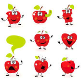 Funny red Apple fruit characters isolated on white background — Stock Vector