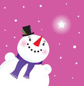 Happy Snowman lady looking at snow — Stock Vector