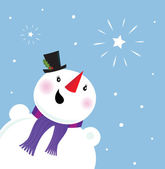 Happy Snowman looking at snow and christmas star — Stock Vector