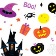 Stock Vector: Halloween icons set isolated on white