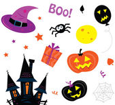 Halloween icons set isolated on white — Stock Vector