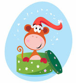Christmas present: Monkey in green box — Stock Vector