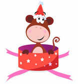 Christmas present: Monkey in red box — Stock Vector