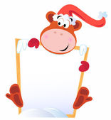 Simpático mono navidad con cartel en blanco de la bandera — Vector de stock