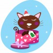 Brown christmas cat in pink gift box — Stock Vector
