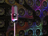 Microphone under colorful lights — Stock Photo
