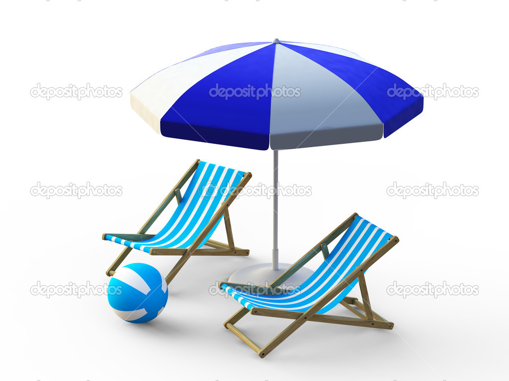 Beach chair and umbrella - Beach Chair And Umbrella Stock Image