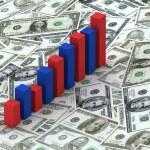 Graph bars on Dollars — Stock Photo