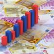 Graph bars on Euros — Stock Photo
