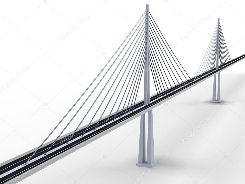 3d rendering of modern suspension bridge on white background — Stock Photo #3621446