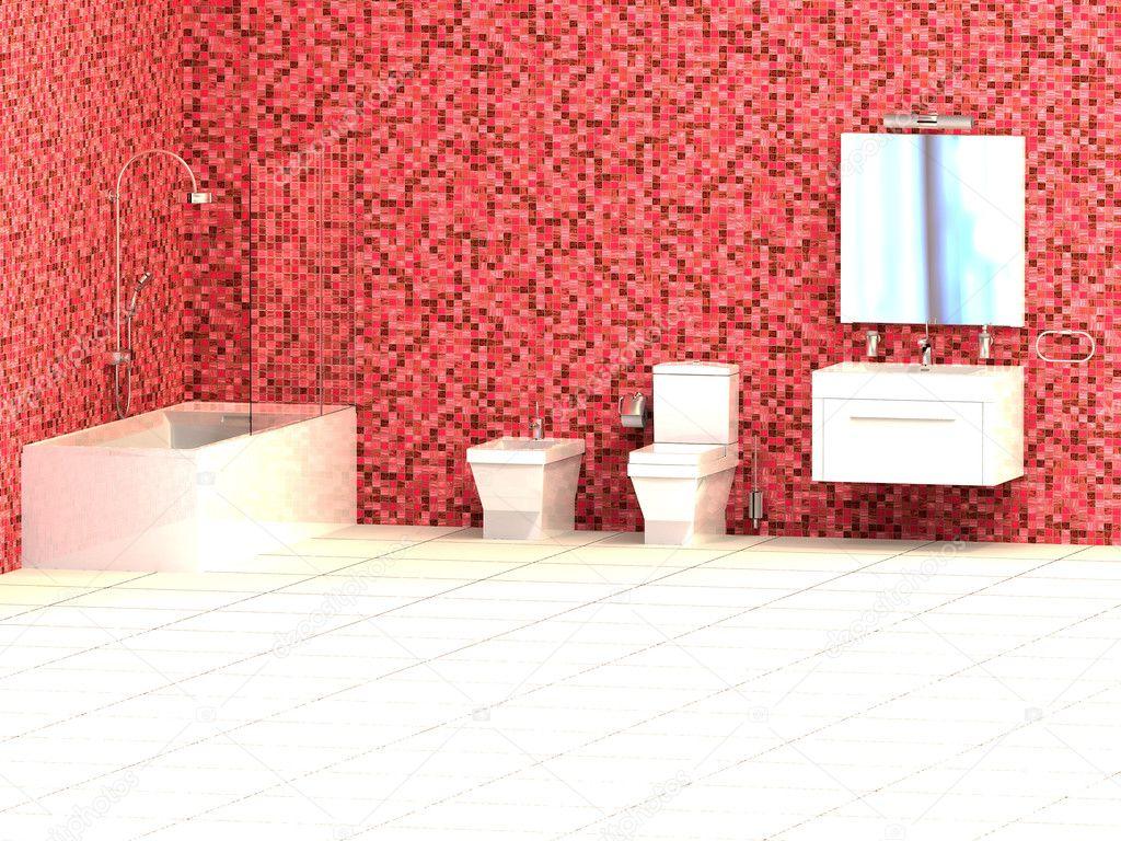 Moderno bagno con piastrelle a mosaico rosso — foto stock ...