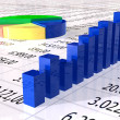 Spreadsheet with colorful graph - Stock Photo
