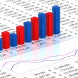 Spreadsheet with blue graph — Stockfoto #3667499