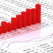 Spreadsheet with red graph - Stock Photo