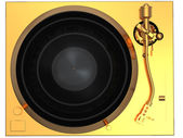 Golden turntable top view — Stock Photo