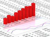 Spreadsheet with red graph — Stock Photo