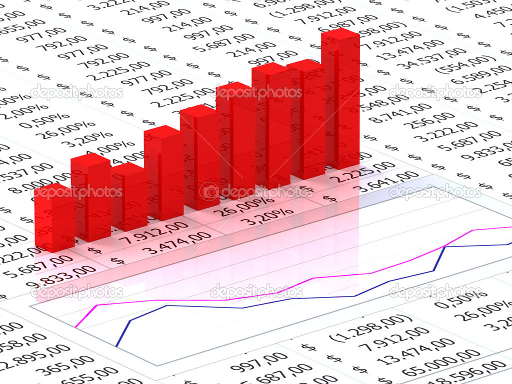 Spreadsheet with red graph bars with numbers in background — Stock Photo #3667545