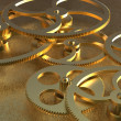 Stock Photo: Golden gears background