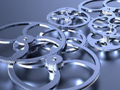 Silver gears background — Stock Photo