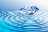 Blue diamond with reflection — Stock Photo