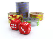 Chips and dice — Stock Photo