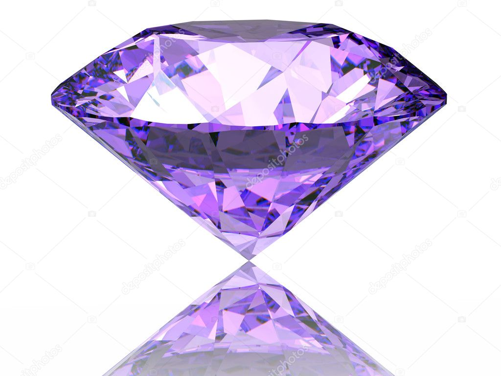 Purple diamond on  white background  with reflection — Stock Photo #3709771