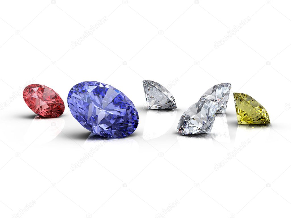Red, blue, white and yellow diamonds on white background — Stock Photo #3709788
