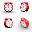 Red alarm clock on white background — 图库照片