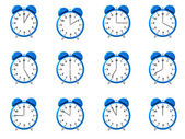 Twelve blue alarm clock's — Stock Photo