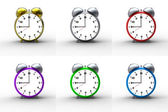 Alarm clocks on white background — Stock Photo