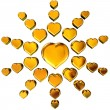 3d golden hearts — Stock Photo