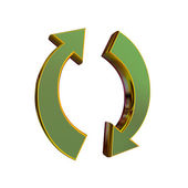 3 d レンダリング ゴールデン リサイクル記号 — ストック写真