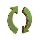 3D rendering golden recycle sign — Стоковое фото