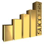 Golden 3d graph — Stock Photo