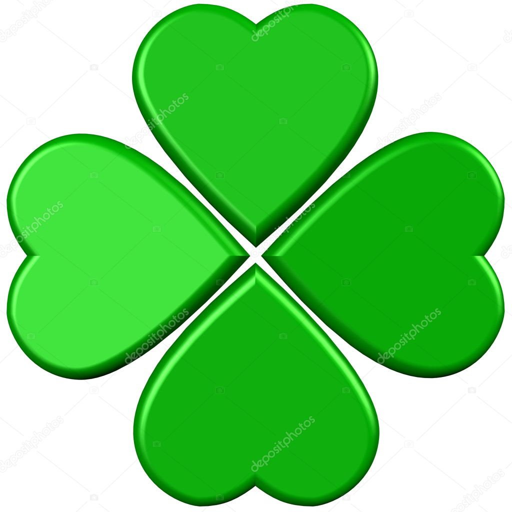 3D rendering of green 4 leaves clover  Stock Photo #3737798