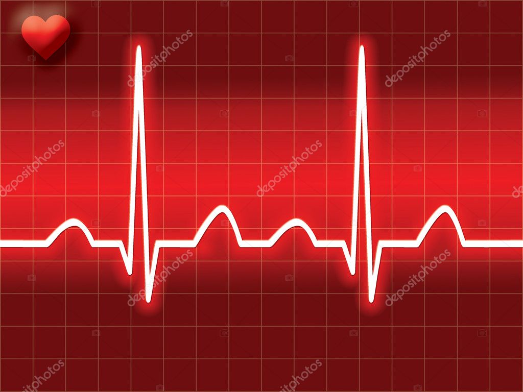 Red heart bit illustration of Electro-cardiograph screen — Stock Photo #3760996
