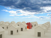 3D houses with clouds — Stock Photo