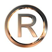 Gold 3D registered trade mark sign — Stock Photo