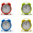 Four colourful alarm clocks — Stock Photo