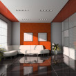 Office interior with orange ceiling — Stock Photo
