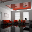 Office interior in red 3D rendering — Stock Photo