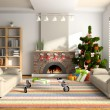 Stock Photo: Christmas interior 3D rendering