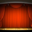 Empty stage with red curtain — Stock Photo