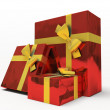 Red gift boxes on white background — Stock Photo