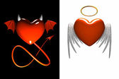 Red heart-devil and red heart-angel — Stock Photo