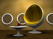 Interior moderno com cadeira amarela — Fotografia Stock